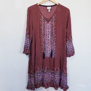 Knox Rose Printed Long Sleeve Tunic Top Size XL